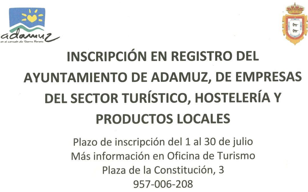 Inscripción en Registro de empresas del sector turístico, hostelería y productos locales. 1