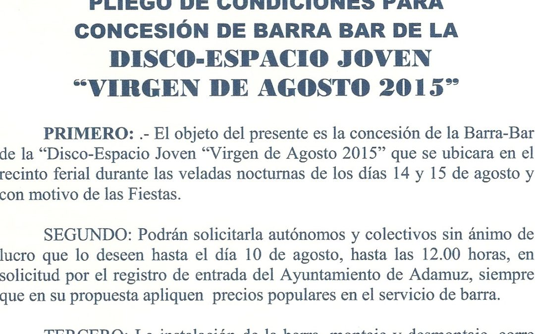 """CONDICIONES PARA LA CONCESIÓN DE BARRA BAR DE LA DISCO-ESPACIO JOVEN """"VIRGEN DE AGOSTO 2015"""""""