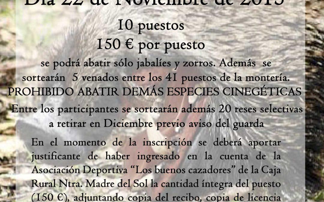 MONTERIA DE JABALÍES. MONTES COMUNALES DE ADAMUZ 1