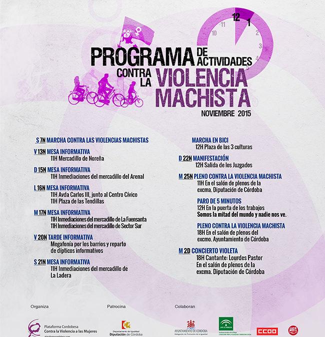 PROGRAMA DE ACTIVIDADES CONTRA LA VIOLENCIA MACHISTA EN CORDOBA 2015