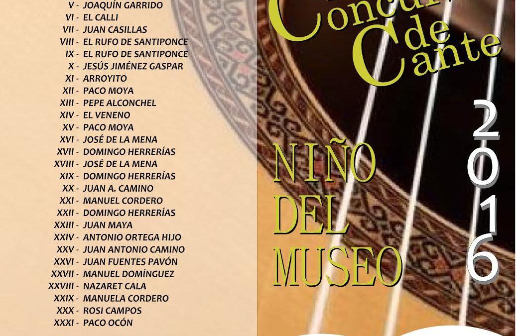 XXXII CONCURSO DE CANTE «NIÑO DEL MUSEO» 2016