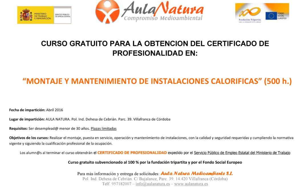 CURSO para la obtención del certificado de profesionalidad en el montaje y mantenimiento de instalaciones caloríficas (500 horas) 1