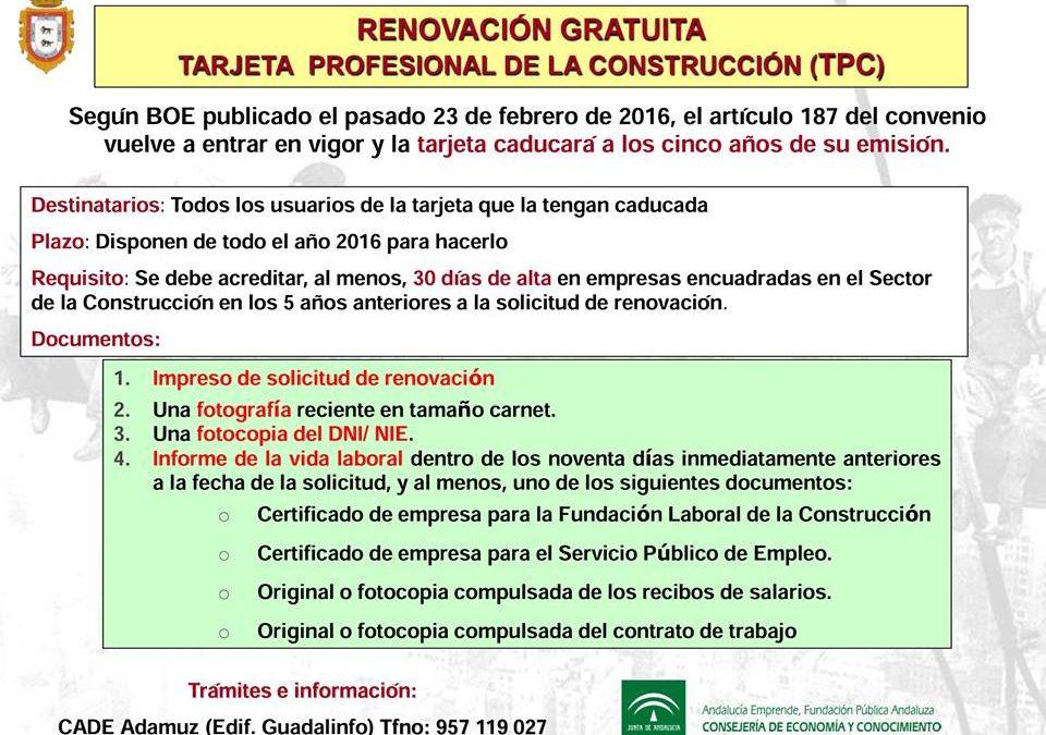 RENOVACIÓN GRATUITA DE LA TARJETA PROFESIONAL DE LA CONSTRUCCIÓN (TPC) 1