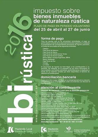 ABIERTO EL PLAZO DE INGRESO DEL IBI DE NATURALEZA RÚSTICA 2016 1
