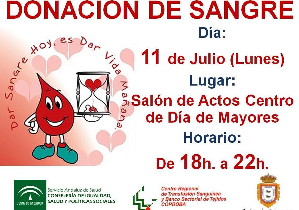 DONACIÓN DE SANGRE EN ADAMUZ (11 DE JULIO 2016)