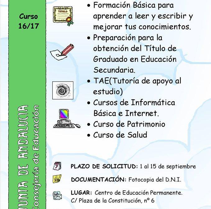 PLAZO DE INSCRIPCIÓN.SECCIÓN DE EDUCACIÓN PERMANENTE ADAMUZ - ALGALLARÍN 1