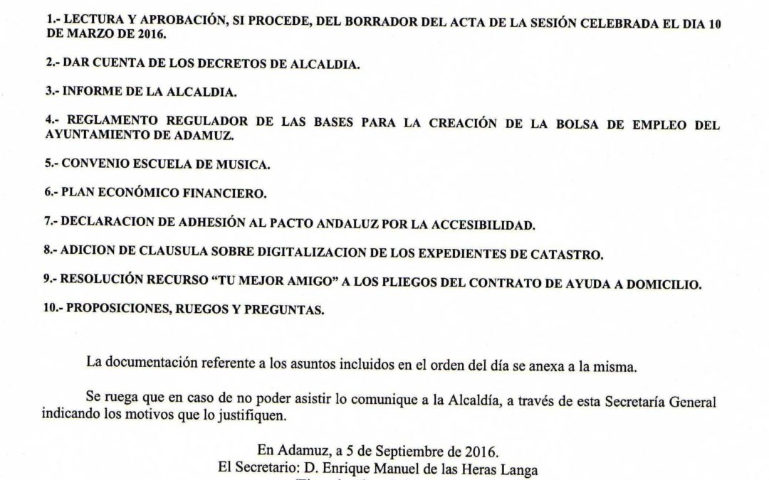CONVOCATORIA DE SESIÓN DE PLENO ORDINARIO DE ESTE AYUNTAMIENTO 1