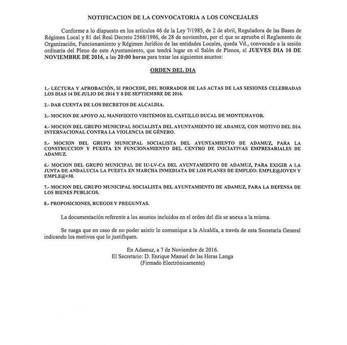 PLENO ORDINARIO NOVIEMBRE 2016 1