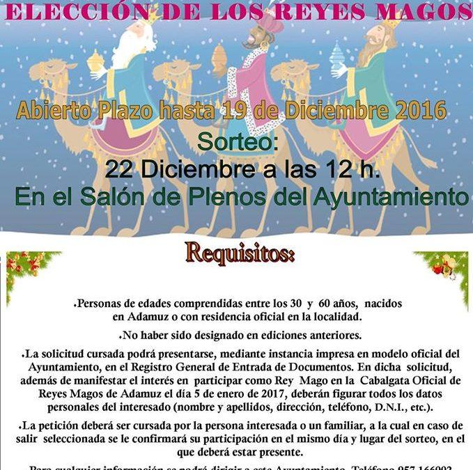 CONVOCATORIA PARA LA ELECCIÓN DE REYES MAGOS 2017 ADAMUZ 1