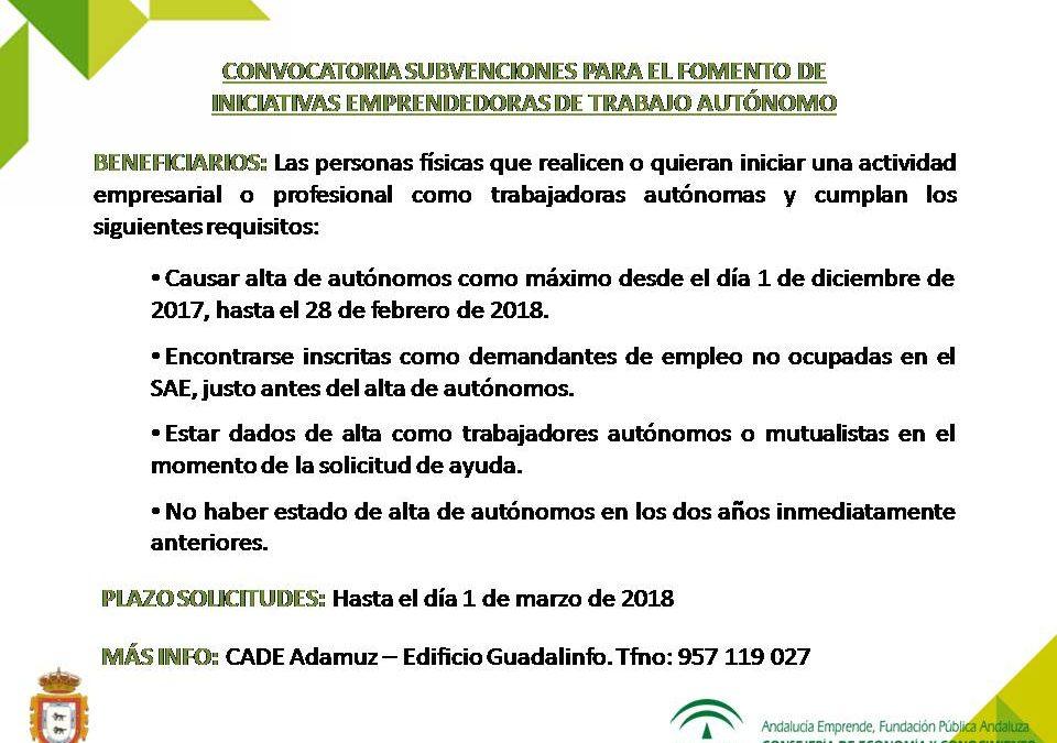 CONVOCATORIA DE SUBVENCIONES PARA EL FOMENTO DE INICIATIVAS EMPRENDEDORAS DE TRABAJO AUTÓNOMO 1