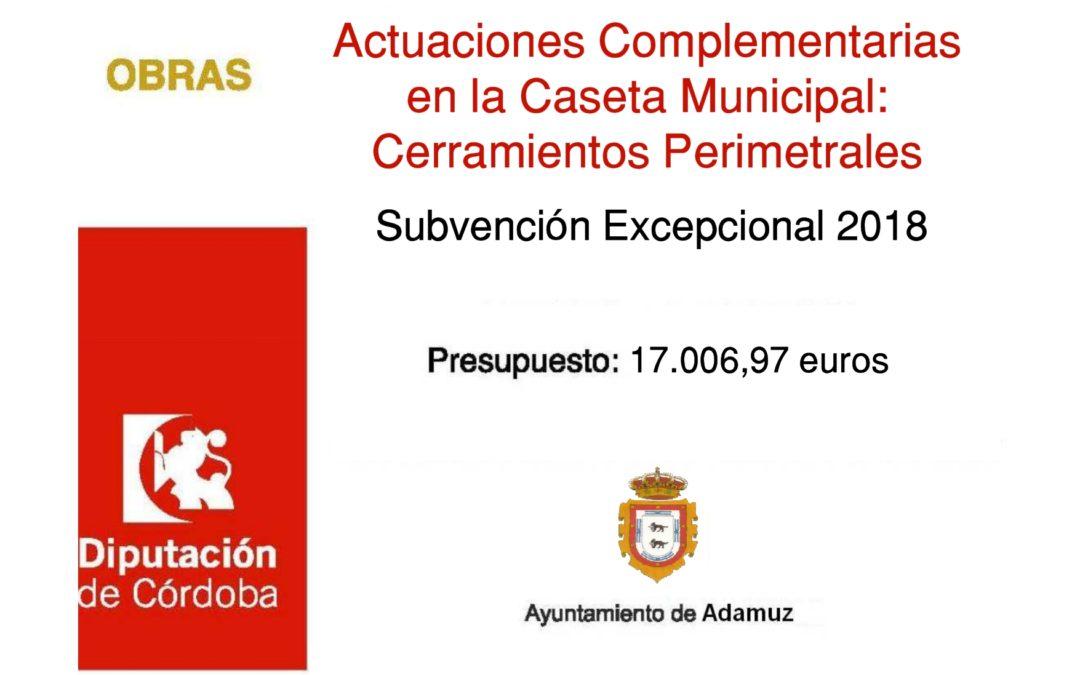Cartel Proyecto Actuaciones Complementarias en la Caseta Municipal Cerramientos Perimetrales 1