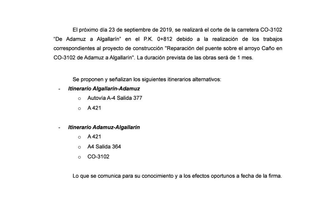 Corte Carretera Adamuz – Algallarín
