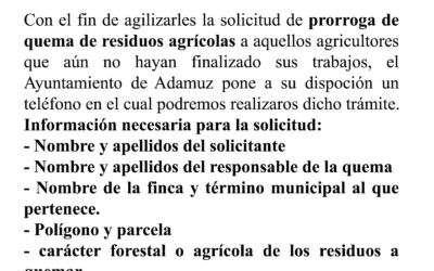 Solicitud de prórroga de permiso de quema para agricultores