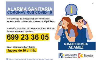 Teléfonos y horario de atención de los Servicios Sociales de Adamuz