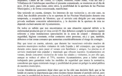 COMUNICADO OFICIAL NO APERTURA DE PISCINA MUNICIPAL