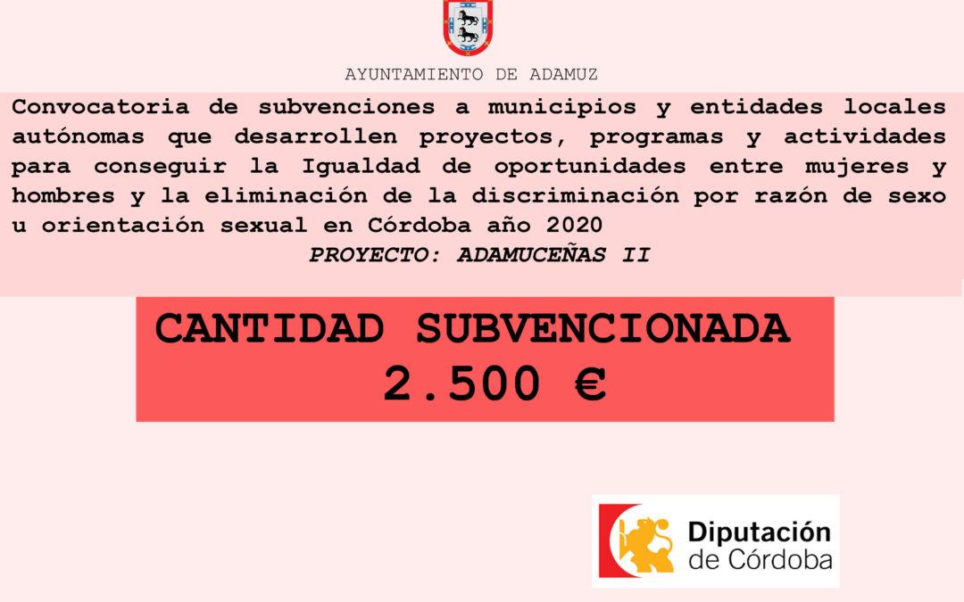 SUBVENCIÓN PROYECTO: ADAMUCEÑAS II