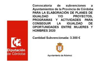 Convocatoria de subvenciones a Ayuntamientos de la Provincia de Córdoba PARA LA ELABORACIÓN DE PLANES DE IGUALDAD Y/O PROYECTOS, PROGRAMAS Y ACTIVIDADES PARA CONSEGUIR LA IGUALDAD DE OPORTUNIDADES ENTRE MUJERES Y HOMBRES