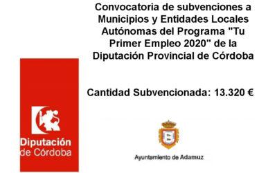 """Convocatoria de subvenciones a Municipios y Entidades Locales Autónomas del Programa """"Tu Primer Empleo 2020"""" de la Diputación Provincial de Córdoba"""