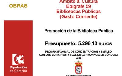 PROGRAMA ANUAL DE CONCERTACIÓN Y EMPLEO CON LOS MUNICIPIOS Y ELA´S EN EL MARCO DE LA ESTRATEGIA  PROVINCIAL ANTE EL RETO DEMOGRÁFICO (EJERCICIO 2020) – Promoción Biblioteca