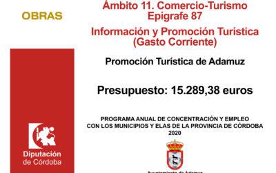 PROGRAMA ANUAL DE CONCERTACIÓN Y EMPLEO CON LOS MUNICIPIOS Y ELA´S EN EL MARCO DE LA ESTRATEGIA  PROVINCIAL ANTE EL RETO DEMOGRÁFICO (EJERCICIO 2020) – Promoción Turística